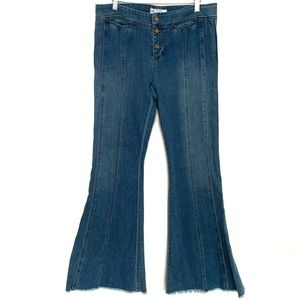 FP Raw Hem Button Fly Front Seam Flare Jeans